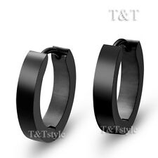 T&T Black Stainless Steel Flat Narrow Hoop Earrings Large 16mm EH01D(3x12)