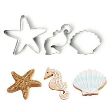 Ocean Theme - Seahorse, Shell & Starfish 3 pc Metal Cookie Cutter Set - NEW