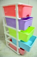5 Tier Drawer Storage Organiser Plastic level Wheels Office Box Cabinet Coloured