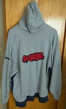 Vintage Adidas Hoodie L Grey with Blue Stripe, STREETBALL, Retro, Basketball