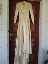 Vintage Champagne/Cream Colored Liquid Satin w/Train HANDMADE Wedding Dress sz.S