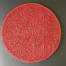 "x2 KIM SEYBERT Red Charger Set Paisley Beaded 15"" Placemat Valentine Christmas"