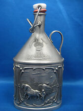 "8.5""Rare Antique German Pewter Embossed & Engraved Bottle-Flask w/ Stopper Nice"