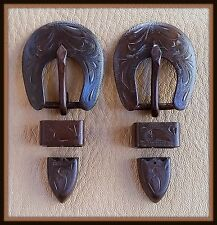 "2 - 1/2"" Hand Engraved / Handmade Iron Buckle Sets  - Spur Straps Headstall  #7"