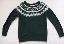 Canyon River Blues Sweater Women's Green Fairisle Knitted Size L