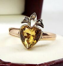 Antique Victorian 9ct Gold Sacred Pearl Crowned Heart Yellow Citrine Ring Size Q