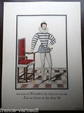 Lithographie French Lithography Fashion mode jean Louis de Nogaret 16th century
