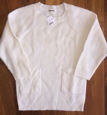Crewcuts Sweater Tunic 14 NWT Patch Pocket Wool b1178 New $75 Ivory Snow