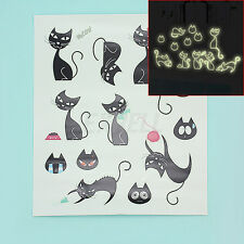 Removable Black Cat Glow In Dark Luminous Fluorescent Wall Decal Sticker Decor