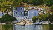 "Greek Harbour Scene Counted Cross stitch Kit 15"" x 8.5"" 38cm x 21.5cm S2384"