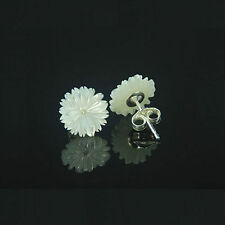 925 Sterling Silver 9mm White Mother of Pearl Seashell Flower Stud Earrings E062