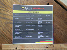 Lamborghini Diablo Agip Engine Lubrification Fluid Data Decal