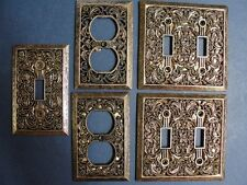 Filigree Antiqued Brass Wall Switch Plate Coves and Plug Covers Matching