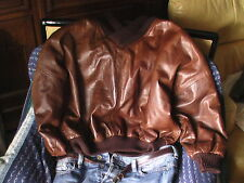 pull pulli pullover cuir leather leder GIMOS GIMO'S Italy  50    54 voire 56