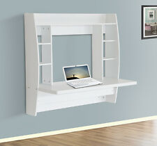 HomCom Floating Wall Mount Office Computer Desk Storage White