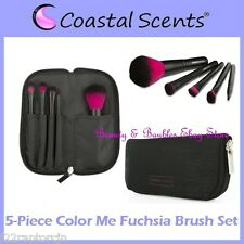 NEW Coastal Scents 5-Piece COLOR ME FUCHSIA Brush Set w/Case FREE SHIPPING BNIB