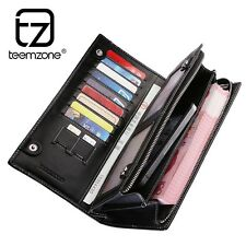 Men Real Leather Clutch Wallet Checkbook Organizer Handbag Card Holder Zipper