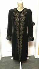 LOUIS FERAUD VINTAGE LONG BLACK JACKET WITH GOLD EMBROIDERY SIZE 6