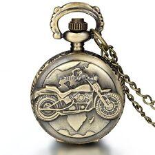 Vintage Unisex Bronze Motorcycle Quartz Pocket Watch Pendant Necklace Chain New