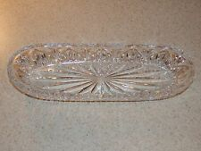 """SIGNED WATERFORD CRYSTAL MARQUIS OVAL BOWL 9 5/8"""" BY 3 3/8"""""""