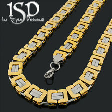 Stainless Steel 12mm 2 Tone Flat Square Byzantine Necklace Chain & Bracelet Set