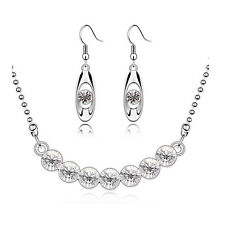 Diamante Silver White Crystal Bridal Jewellery Set Drop Earrings Necklace S438