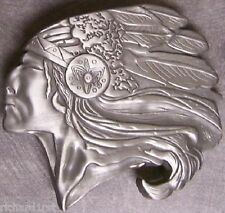 Metal Belt Buckle The Old West Indian Chief NEW