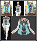 High Quality Women Fashion Print Long Sleeve Lapel Shirt Chiffon Blouse Tops S-L