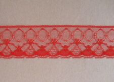 CRAFT-SEWING-LACE 10mtrs x 30mm Red Delicate Design Lace