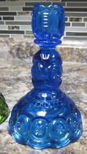 """VINTAGE L.E. SMITH BLUE GLASS MOON & STAR DESIGN 6"""" TAPER CANDLE HOLDER"""