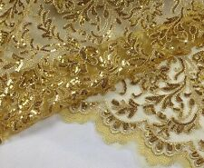 "Vintage 47"" Wide Gold Sequin Embroidery Bridal Lace Fabric Beaded Lace 1/2 Yard"