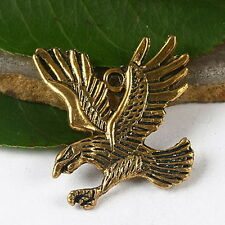 5pcs dark gold tone eagle flying design charms h2822