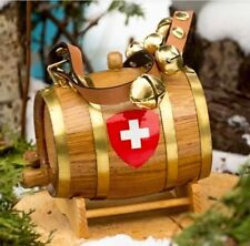 Saint Bernard St Dog Keg Wood Barrel Jingle Sleigh Bells Leather Strap Unique