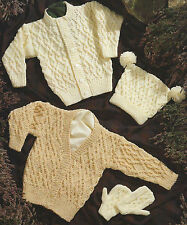 "Baby Knitting Pattern Aran Cardigans, Mittens and Hat 16-30"" Girls & Boys   642"