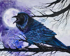 RAVEN MOON 8X10 Bird, Crow, Raven print by Artist Sherry Shipley