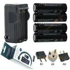 4x18650 6000mAh Rechargeable Li-ion Battery For LED Torch Flashlight+DA Charger