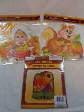 THANKSGIVING Decorations 3 Pieces Window Clings and Honeycomb Table Centerpiece