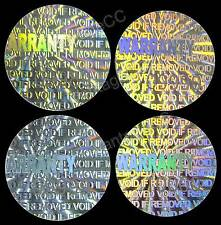 "100x ""WARRANTY"" Hologram Stickers, NUMBERED, 12.5mm Round Labels, Tamper-evident"