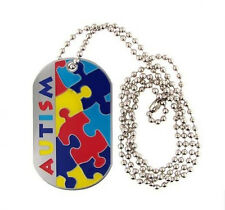 AUTISM Necklace Alert Medical ID Stainless Steel Dog Tag Emergency Jewelry ASD
