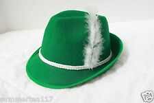 Green German Alpine OKTOBEREST Hat Feather Cap St. Patrick's Day Costume G1697