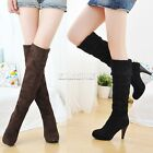New LADIES WOMENS OVER THE KNEE THIGH HIGH STILETTO HEEL BOOTS STRETCH WIDE LEG