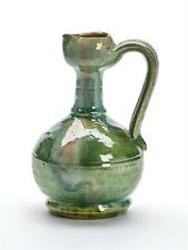 ANTIQUE GREEN GLAZED ART POTTERY JUG OWL MARK 19TH C.