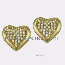 Sterling Silver Yellow Gold Plated Heart Stud Screwback Earring CZ (10mm) #0043C