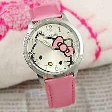 Lady Girl Kid Child Pink Hello Kitty Syntheti Leather Wrist Watch Birthday Gift
