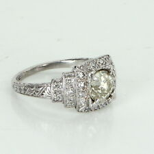 Antique Deco Platinum Diamond Engagement Ring Vintage Fine Jewelry Heirloom