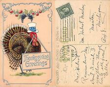 USA Thanksgiving Embossed 1910 Chicago IL - Manton MI (L-L 043)
