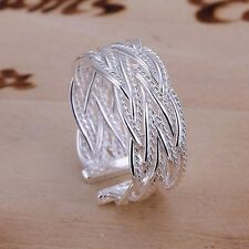 New Women Men 925 Sterling Silver Plated Knit Carved Band Ring Jewelry US Size 8