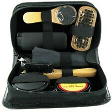 7 Piece Shoe Shine Kit Gift Set in Black Leather Pouch SHO2 by Sarome UK