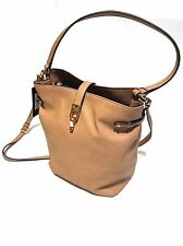 NWT TOMMY HILFIGER PEBBLE LEATHER BUCKET BAG SAND BEIGE