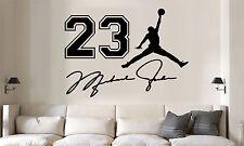 Michael Jordan jumpman jersey number auto Vinyl Wall Decal/Words/Sticker 3pc set